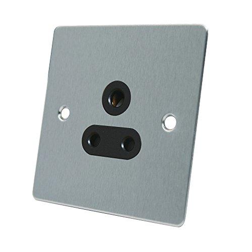 AET fsc5asocbl 5 A 1-voudig, satijn chroom rond platte pin schakelaar stopcontact met zwarte inzet
