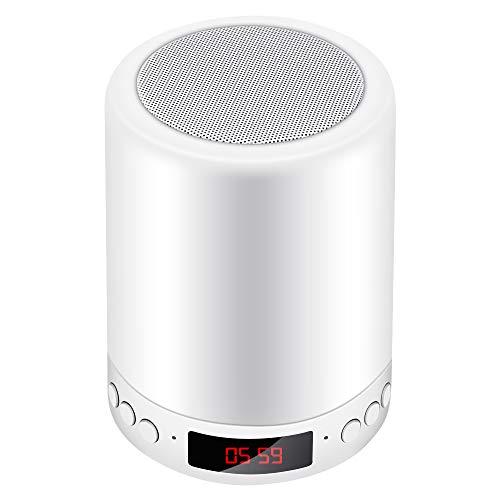 Luces nocturnas con altavoz Bluetooth, lámpara de mesilla con control táctil, reloj despertador, reproductor de MP3, lámpara de mesa LED con cambio de color RGB regulable, soporte USB/MicroSD/AUX