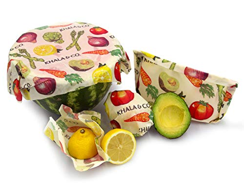 Khala & Company Beeswax Wrap Combo Pack (4 Sizes) (Harvest) – Eco-Friendly Reusable Food Wrap – Locally Sourced Beeswax – Zero-Waste Company – Handcrafted in the USA - 4 Sizes (XS, S, M, L)
