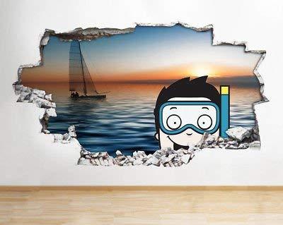 Q154 zee snorkelen kinderen slaapkamer versnipperd muursticker 3D kunst sticker vinyl kamer