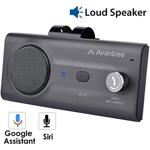 Avantree CK11 Hands Free Bluetooth for Cell Phone Car Kit, Loud Speakerphone, Siri Google Assistant Support, Motion AUTO ON, Volume Knob, Wireless in Car Handsfree Speaker with Visor Clip – Titanium