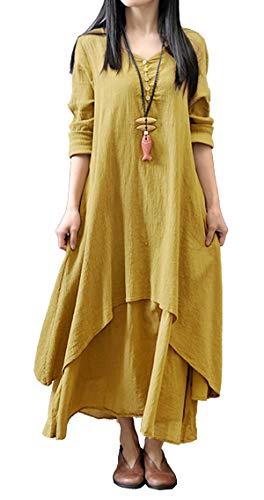 R.Vivimos Women Long Sleeve Cotton Casual Loose Plus Size Irregular Long Dresses (Large, Yellow)