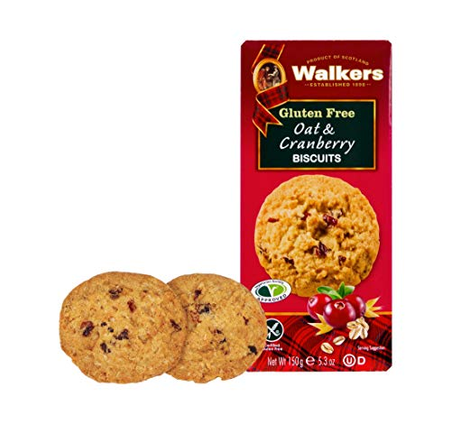 Walkers Shortbread Gluten-Free Oat & Cranberry Cookies, 5.3 Ounce Box (Pack of 6)
