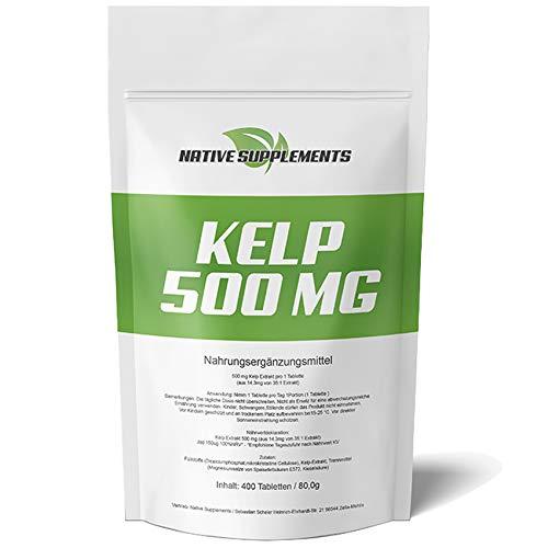 Kelp 500 mg Hochdosiert - XXL Bulk Pack - 400 Tabletten, 2-fache Menge zum Besten Preis - Superfood für Veganer & Vegetarier geeignet, 150µg natürliches Jod, Algen-Komplex - Braunalgen Pulver