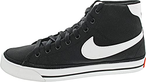 Nike Court Legacy Mid Canvas, Zapatos de Tenis Hombre, Negro Blanco, 45 EU