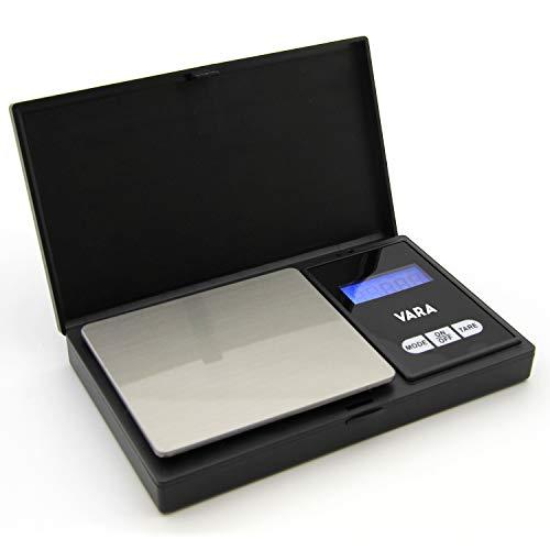 VARA Digitale zakweegschaal, 200g/0,01g, met scharnierende beschermdeksel, inclusief 2 x AAA batterijen - digitale weegschaal, fijne weegschaal, keukenweegschaal, precisieweegschaal, elektronische weegschaal