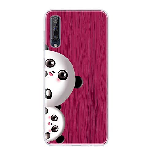 Miagon Holz Korn Hülle für Samsung Galaxy A70,Ultra Dünn Weiche Silikon Handyhülle Cover Stoßfest Schutzhülle mit Schöne Süß Panda Muster,Rose Rot