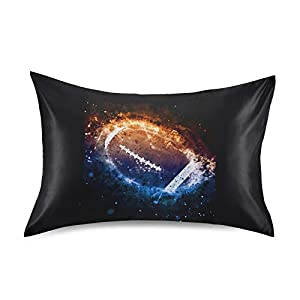Oyihfvs American Football in Fire and Ice Style On Black Silky Satin Pillowcase for Hair and Skin, Soft Slip Cooling Bed Pillow Cover, Decorative Silk Pillow Cases with Envelope Closure