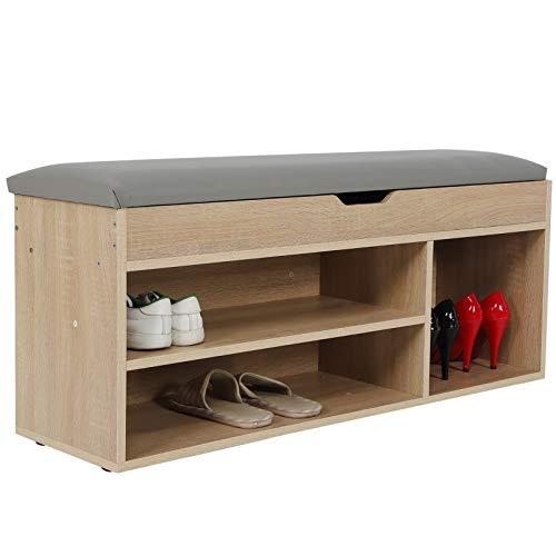 Greensen - Armario zapatero con cojín, banco de zapatos, 3 niveles, estanterías, cojines, baúl, armario de pasillos, zapatero con cajón (color madera)