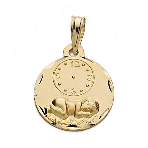18k Goldmedaille 15mm Uhr Kind. Runde Zaun geschnitzt