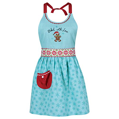 Kay Dee Women's Pale Blue Gingerbread Snowflake Cotton Holiday Apron, One Size Fits Most