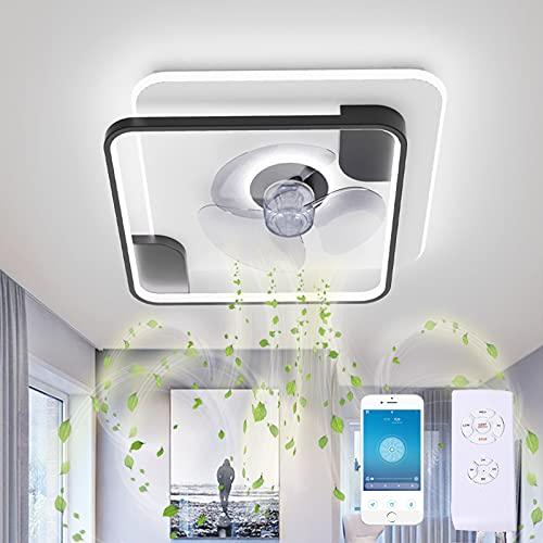 GJXJY Lampara con Ventilador de Techo Led Silencioso con Mando 3 Velocidades 19.7in 65W Ceiling Fan para Lámpara de Oficina, Restaurante