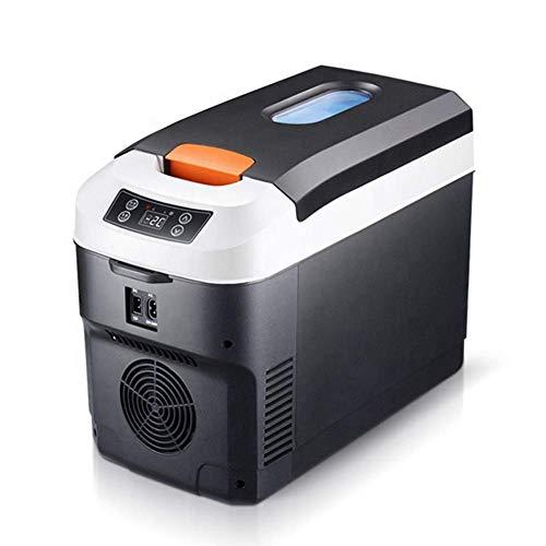 Nevera Eléctrica Portátil Frigorífico portátil de 10 litros, refrigerador de coche pequeño, AC/DC El calentador de refrigerador alimentado, puede contener botellas de 13-16 de 330ml latas, digital LCD