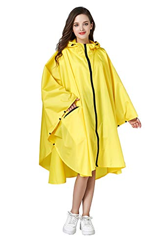 Women Rain Poncho Stylish Polyester Waterproof Raincoat Free Size with Hood Zipper Styles (Yellow)
