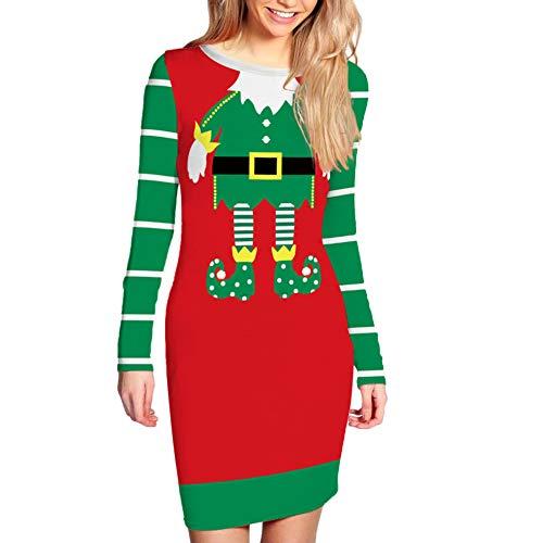 KeKeandYaoYao Kerstmis ambacht Ornamenten Gift DIY Supplies, Xmas Lady Santa Print Kleur Blok O Hals Strakke Taille Lange mouwen Bodycon Jurk - S BCB003