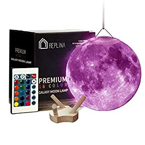 3D Moon Lamp – Hanging Lunar 4.72 Inch Stand [16 Colors] Rechargeable LED Night Light – Globe Shape Nursery Decor Charging Cable Remote Touch Dimmable Ball Wooden Stand Kids Birthday (Moon 4.72 inch)