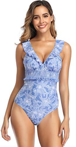 SHEKINI Damen Brazilian Einteiliger Bikini Rüsche Tief V-Ausschnitt Monokini Rückenfrei Blumenmuster Bikinis Gepolsterte Pads Volant Badeanzug (Large, Blau)