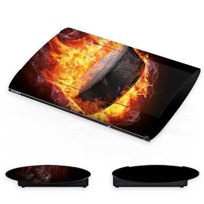 DeinDesign Skin kompatibel mit Sony Playstation 3 Superslim CECH-4000 Folie Sticker Eishockey Feuer