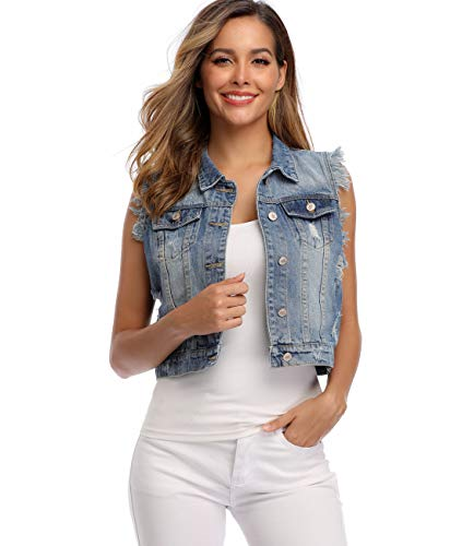 Dilgul Damen Denim Weste Ärmelloses Zerrissene Jeans Jacke mit Taschen (46/X-Large, Blau)