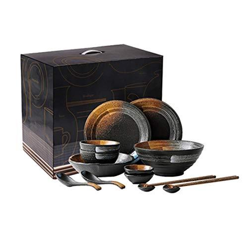 Vajillas combinadas, Conjuntos Japonés Retro Vajilla,Textura Mate Cuencos/Platos For 2-6 Personas,Negro Vajilla (tamaño : 14 pieces+Gift box)