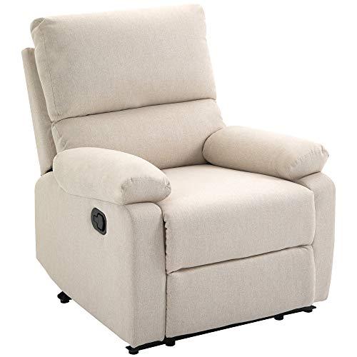 homcom Poltrona Relax Moderna per Soggiorno con Schienale Reclinabile Manuale in Tessuto Beige 79x92x97cm