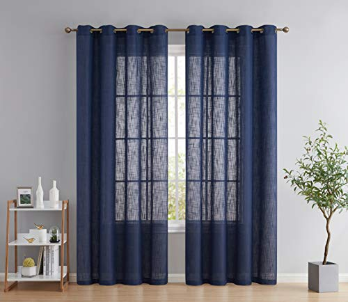 HLC.ME Abbey Faux Linen Textured Semi Sheer Privacy Light Filtering Transparent Window Grommet Floor Length Thick Curtains Drapery Panels for Bedroom & Living Room, 2 Panels (54 W x 84 L, Navy Blue)