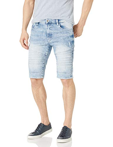 Southpole Men's Denim Shorts, Light Sand Blue Signature Bike, 34