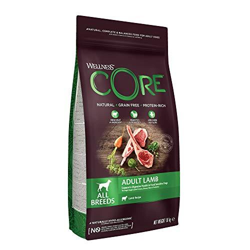 Wellness CORE Adult Lamb, Hundefutter trocken getreidefrei, hoher Fleischanteil, ohne künstliche Zusatzstoffe - Lamm, 1.8 kg