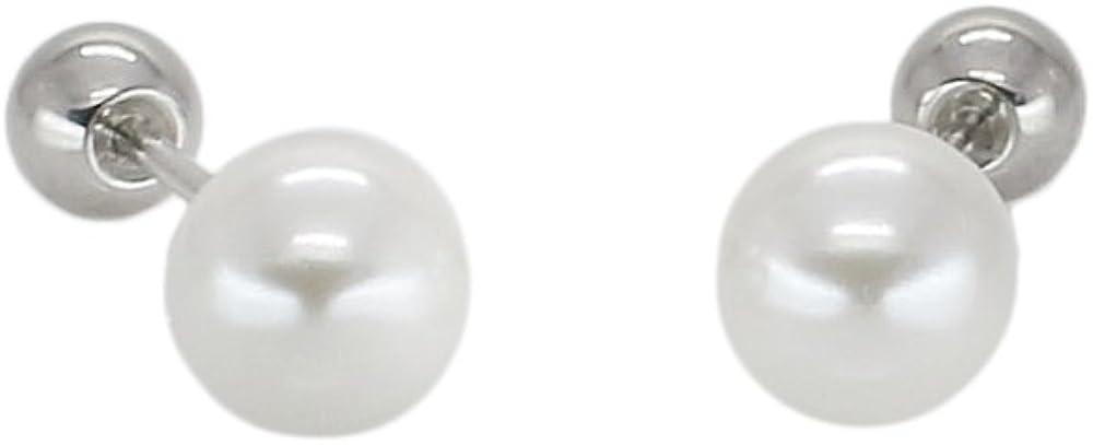 Pearl studs earrings 4mm,6mm Screw back ball earrings Surgical steel posts cute earrings