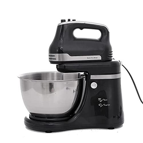 QiHaoHeji Mezclador de Alimentos eléctrico de Cocina 4.2L Soporte Eléctrico Mezclador Crema Comida para Hornear 5 Velocidades De Acero Mezclando Cuenco 800w (Color : Black, Size : 4.2L)