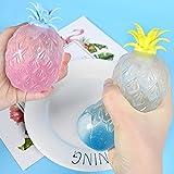 Kaikso-In Stressabbau-Bälle, 2 Stück, lustige Ananas-Form, bunt, sensorisch, Anti-Stress, Anti-Angst, Druck-Quetsch-Spielzeug für Kinder und Erwachsene, zufällige Farbe