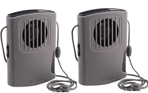 O2COOL - Ventilador de collar con ventilador portátil para colgar el cuello, potente flujo de aire vertical, pequeño dispositivo funciona con pilas AA con cordón ajustable para refrigeración silenciosa y viajes personales, gris (Grey 2 Pack)