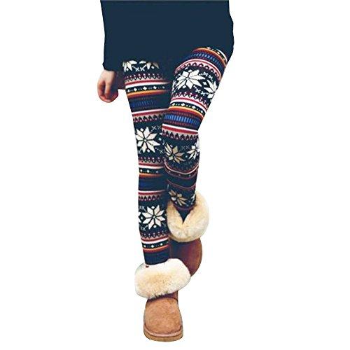 OSYARD Damen LeggingsHose Pants, Frauen Stretchy Drucken Leggings Herbst Winter Warm Thermo Mädchen Slim Strumpfhose Muster YogaFitness Hose Freizeithose Sweathose Stoffhose Sporthose Sweatpants