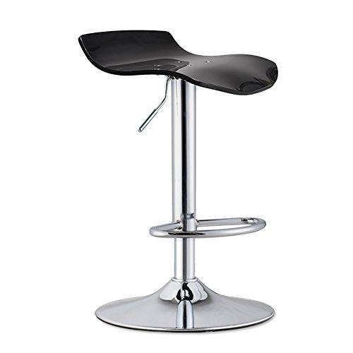 Chaise pivotante, tabouret de travail, tabouret à roulettes Beauty, coussin acrylique à translucide, différentes formes de tabourets Tabourets hauts (Couleur : NOIR, taille : 41cm)