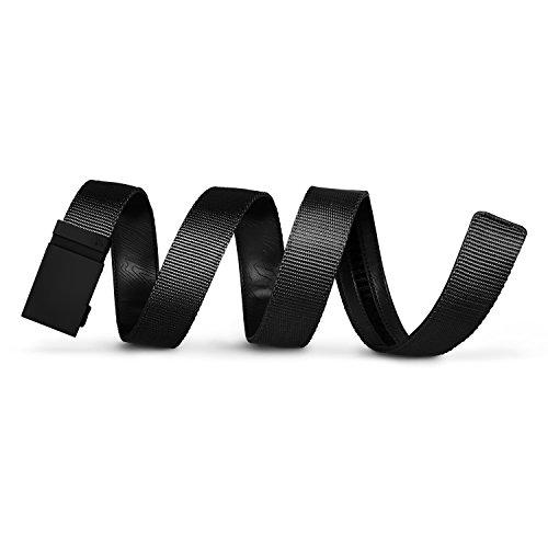 Mission Belt Men's Ratchet Belt - Stealth - Matte Black Buckle/Black Nylon Strap, Custom (up to 56)