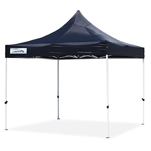 Goutime 10x10 Ft (3m*3m) Easy Pop Up Canopy Tent Gazebo Marquee Commercial Tents Portable Foldable Instant Shelter with Wheeled Carry Bag, Events Beach Market Waterproof,Black