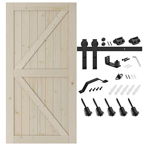 SMARTSTANDARD 42in x 84in Sliding Barn Door with 7ft Barn Door Hardware Kit & Handle, Pre-Drilled Ready to Assemble, DIY Unfinished Solid Spruce Wood Panelled Slab, K-Frame, Natural