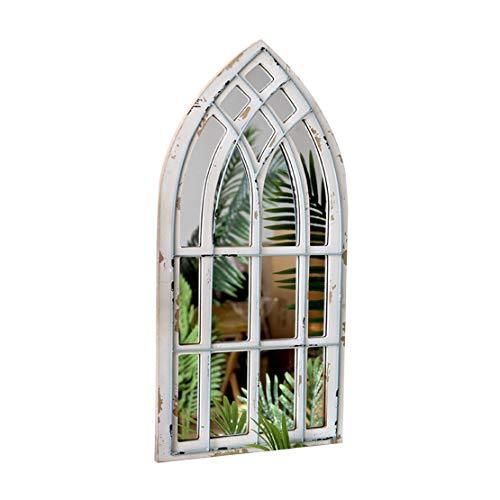 SZQJZJ Ventana Blanca Espejo de Pared Arco rústica Jardín