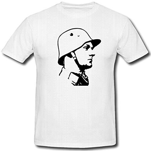 Deutscher Soldat Bundeswehr Bw Militär WK 1 WK 2 Stahlhelm M16 - T Shirt #1388, Größe:XL, Farbe:Weiß