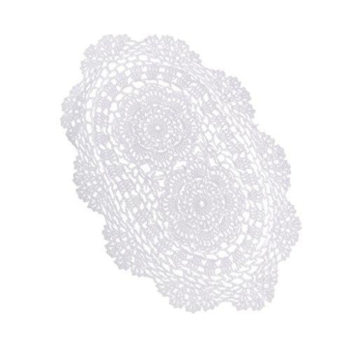 Milageto Tapetes de mesa de encaje de algodón de ganchillo ovalados blancos hechos a mano para usar como manteles individuales, mesa