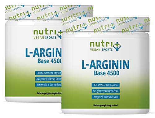 Argininkapseln - L-Arginin Base - pflanzlich und hochdosiert - 99% Wirkstoff - 720 Mega Caps L-Arginine - allergikergeeignet - ohne Zusätze - Nutri-Plus Vegan Sports
