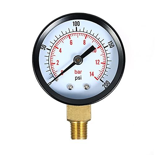 CFDYKRP 1/8 Pulgada 0~200 PSI 0~14 Bar Escala de Doble Escala de presión mecánica Filtro de Piscina Acuario Agua Air Aire Medidor de medidor