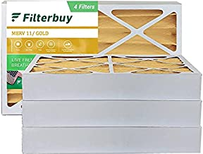 FilterBuy 16x25x4 Air Filter MERV 11, Pleated HVAC AC Furnace Filters (4-Pack, Gold)