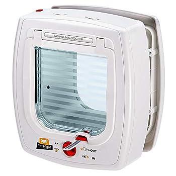 Ferplast Chatière Swing Microchip, Porte Basculante pour Chats, Système de Proctection Contre les  Courants D'Air,22,5 X 16,2 X H 25,2 Blanche