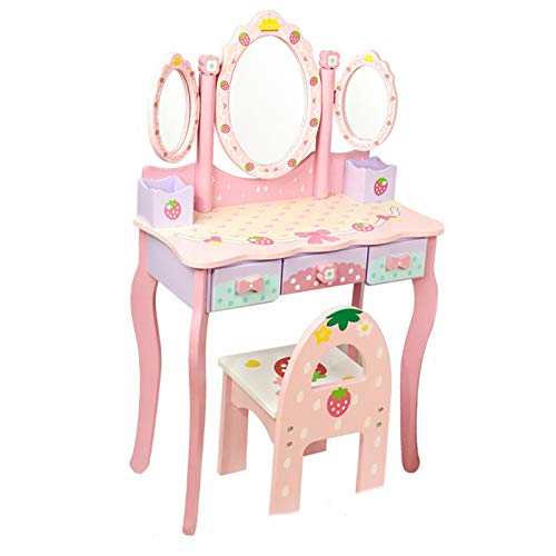 XYNB Schminktisch Spielzeug,Kinder Schminktisch Set Mit Hocker,Spiegel,Haartrockner Prinzessin Mädchen,Big