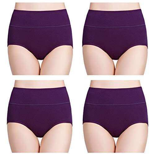wirarpa Damen Unterhosen Baumwolle Slips Damen Hoher Taille Atmungsaktive Taillenslip Wochenbett Unterwäsche Mehrpack Größen 32-58, Lila-4er Pack, X-Small(32/34)