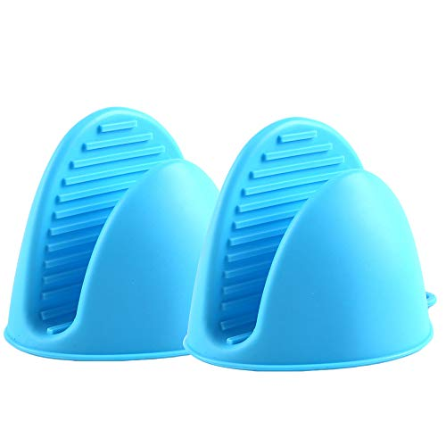 Silicone Oven Mitts Heat Insulation Silicone Oven Gloves, Mini Oven Mitts, Cooking Mitts Pinch Grips Kitchen Heat Resistant Gloves (Blue)
