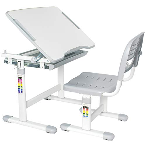 VIVO Height Adjustable Childrens Desk & Chair Set | Kids Interactive Work Station Grey (DESK-V201G)