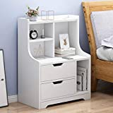 Pollyhb Nordic Minimalist Bedside Table, Nightstand White Yellow Side End Wood Storage Tables with Drawer for Bedroom, 15.94 × 11.81 × 27.55 in (White)