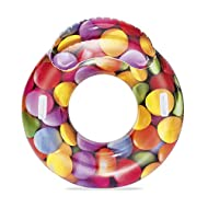 Comfortable inflatable swimming pool lounger with funky candy delight design The inflatable is made from sturdy pre-tested vinyl for comfort and durability Includes a headrest for extra comfort Heavy duty handles provides extra stability and can be e...